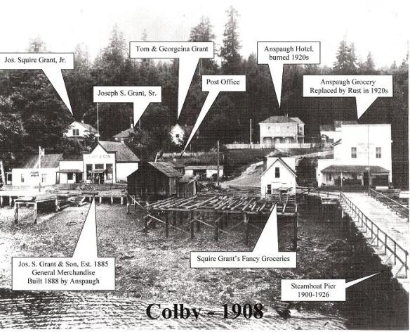 Colby, as it was seen from the pier, had stores, stables, a blacksmith shop, a hotel, and lots of people. The lumber mill is to the left, and the First Street residences is to the right. This composite was prepared by JB Hall.