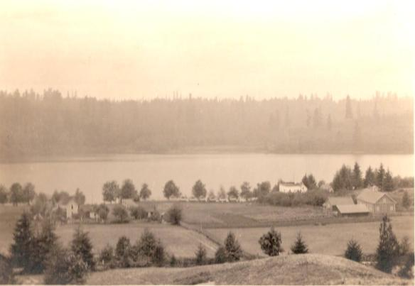 Long Lake, shown here in the 1920's, has always been the center of recreation and industry. In the early days, it was the home of a shingle mill and a lumber mill, as well as farms. Photo provided by Shirlee Toman.