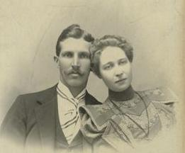 Tom and Georgina Grant on their wedding day, 1888.