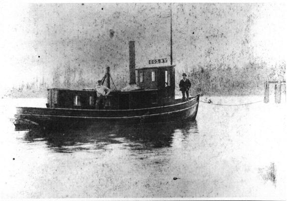 Capt Creswell\'s steam tug, COLBY, about 1884