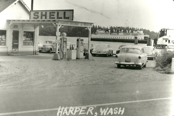 This photographs of the Harper Dock and adjacent store in the early 50's, shows the facility in it's heyday. Photo courtesy of Joy McFate Lee.
