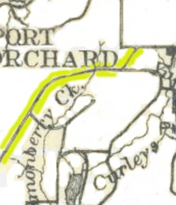 This closeup of the White & McConihey map shows the sections of a road that once followed Salmonberry Creek.