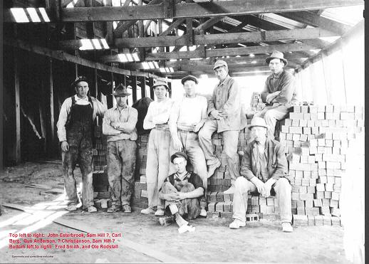 The Brick Factory employed more than half of the local men, shown here inside the main building.