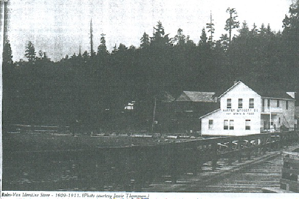 """Downtown"" Harper about 1916, with the steamship pier in the foreground. The store on the beach was owned by Thomas Grant."